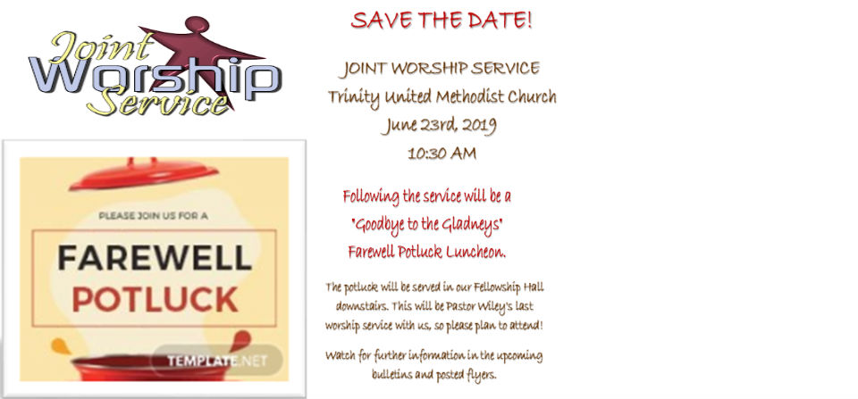 Joint Worship Service and Farewell Potluck Luncheon